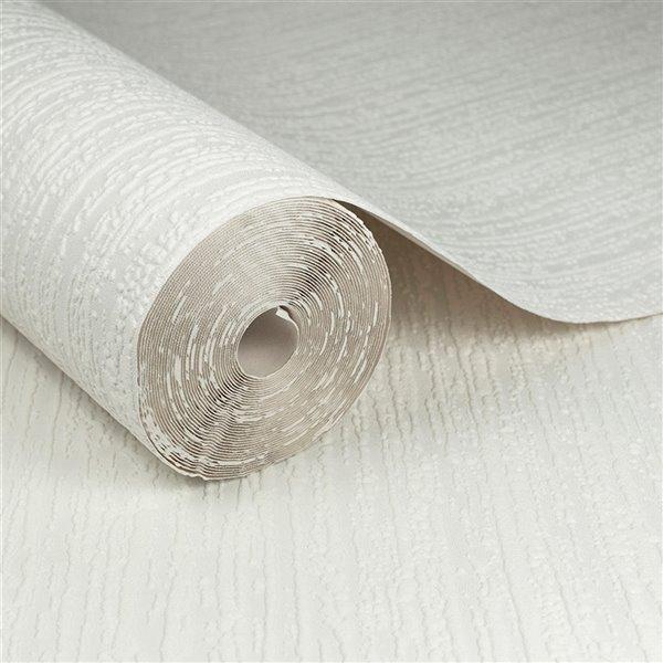 Papier peint en vinyle texturé peinturable au motif d'écorce par Graham & Brown, non encollé, 56pi², blanc