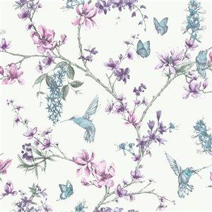 Papier peint Simplicité en tissu non-tissé au motif floral par Graham & Brown, non encollé, 56pi², Perle/lilas
