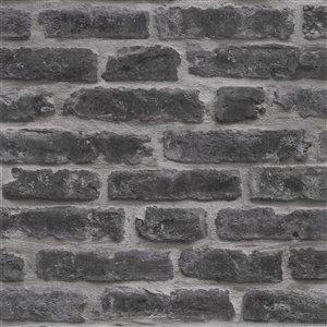 Papier peint Strata en vinyle texturé au motif de briques par Graham & Brown, non encollé, 56pi², noir