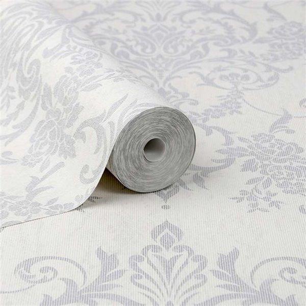Papier peint Enfants en tissu non-tissé texturé au motif damas par Graham & Brown, non encollé, 56pi², argent