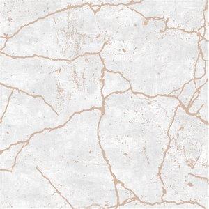 Papier peint Impératrice en tissu non-tissé texturé au motif abstrait par Graham & Brown, non encollé, 56pi², or rose