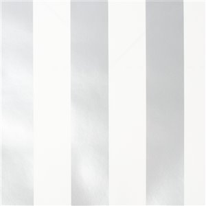 Papier peint Enfants en papier rayé par Graham & Brown, non encollé, 56pi², argent/blanc