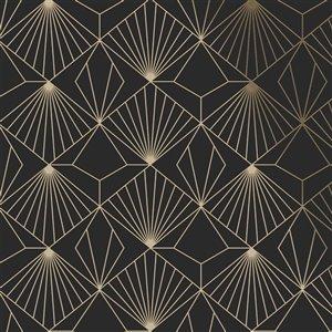 Papier peint Kabuki en tissu non-tissé texturé géométrique par Graham & Brown, non encollé, 56pi², noir/or