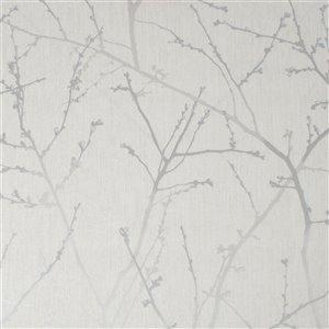 Papier peint Simplicité en tissu non-tissé texturé au motif de vignes par Graham & Brown, non encollé, 56pi², mica blanc