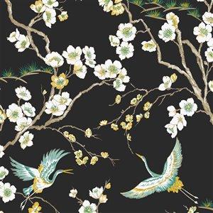 Papier peint Kabuki en tissu non-tissé texturé à motif d'oiseaux par Graham & Brown, non encollé, 56pi², noir