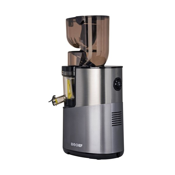 Extracteur de jus vertical Atlas Pro de BioChef, pressage à froid, 200 oz, 300 watts, argent