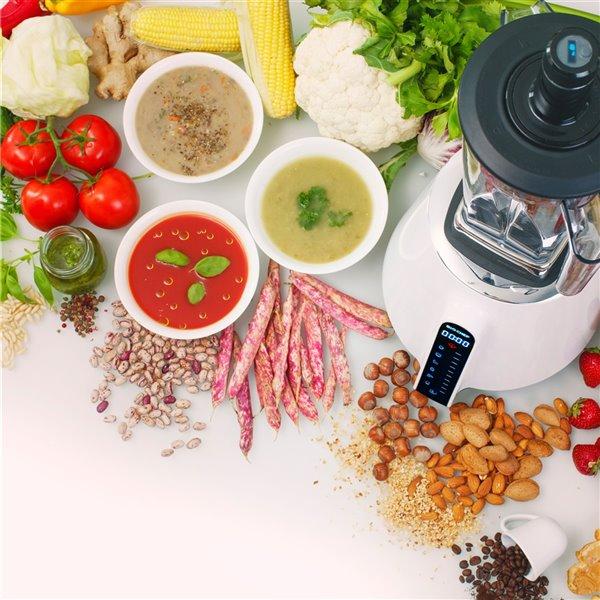 Mélangeur sous vide Living Food de BioChef avec mode à impulsion, DEL, 67,62 oz, blanc