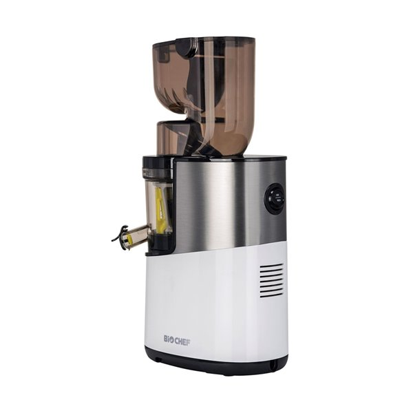 Extracteur de jus vertical Atlas Pro de BioChef, pressage à froid, 200 oz, 300 watts, blanc
