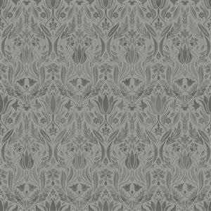 Papier peint floral Ludvig Ogee de Midbec, gris foncé