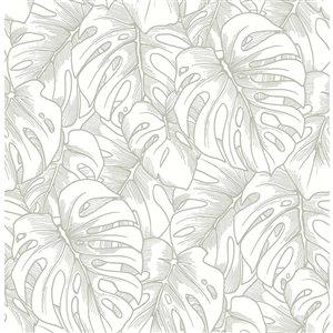 Papier peint Balboa Botanical de A-Street Prints, argent