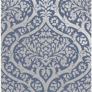 Papier peint Sandringham Damask de Fine Decor, bleu