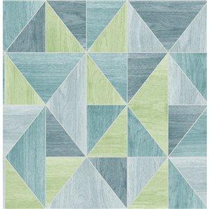 Papier peint géométrique en bois Simpson de Advantage, bleu