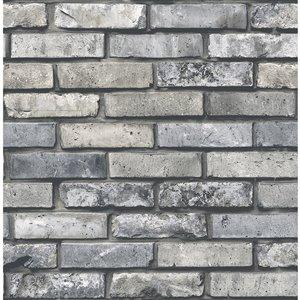 Papier peint Painted Brick de Brewster, gris