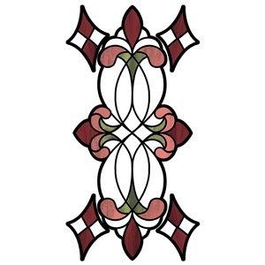 Sticker vitrail vignoble rouge lot de 2