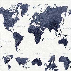 Papier peint Boq World Map de ESTA Home, bleu foncé