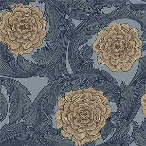 Papier peint floral ornemental Rosa de Midbec, bleu