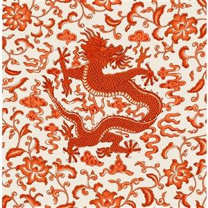 Papier peint Chi'en Dragon Self Adhesive de Scalamandre, persimmon