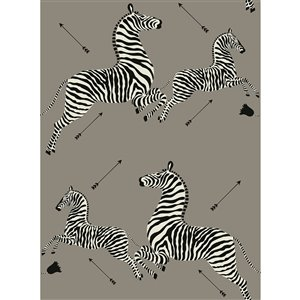 Papier peint adhésif Zebra Safari de Scalamandre, gris