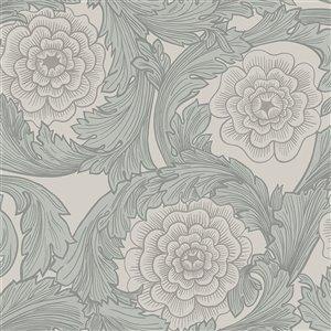 Papier peint floral ornemental Rosa de Midbec, gris