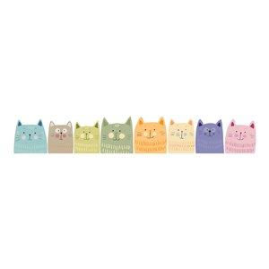 Stickers muraux chats multicolores lot de 8
