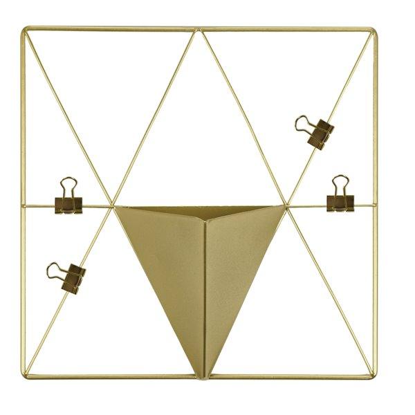 Grille en métal triangle avec poche de WallPops, doré