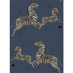 Papier peint adhésif Zebra Safari de Scalamandre, denim
