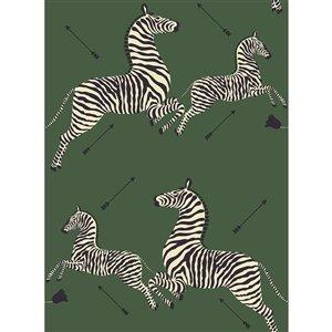 Papier peint adhésif Serengeti Zebra de Scalamandre, vert