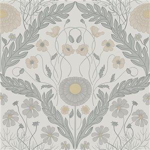 Papier peint Marguerite Damask de Midbec, gris