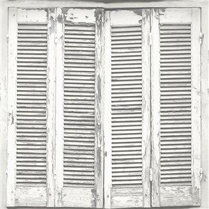 Papier peint détressé Lansbury Shutter de ESTA Home, blanc cassé