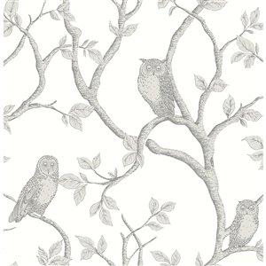 Papier peint Owl Enchanted Forest and Tree de Brewster, gris