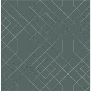 Papier peint géométrique Ballard de A-Street Prints, sarcelle