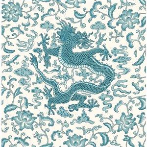 Papier peint Chi'en Dragon Self Adhesive de Scalamandre, paon