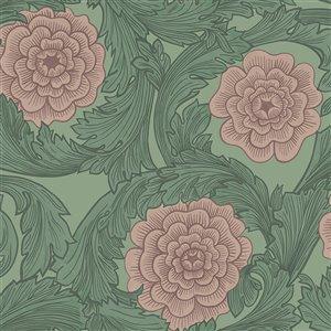 Papier peint floral ornemental Rosa de Midbec, vert