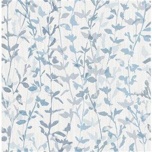 Papier peint Thea Floral Trail de A-Street Prints, bleu