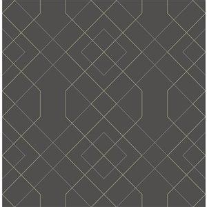 Papier peint géométrique Ballard de A-Street Prints, gris