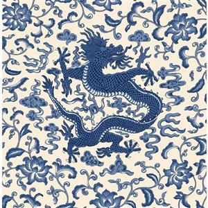 Papier peint adhésif Chi'en Dragon de Scalamandre, indigo