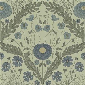 Papier peint Marguerite Damask de Midbec, vert