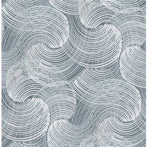 Papier peint géométrique Karson Swirling de A-Street Prints, bleu