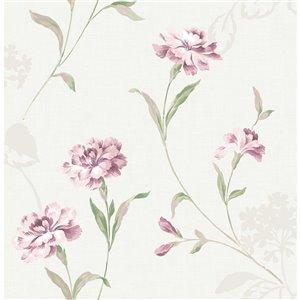 Papier peint Caserta Floral de Brewster, rose