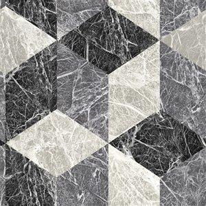 Origin Rizzo Geometric Stone Wallpaper - Black