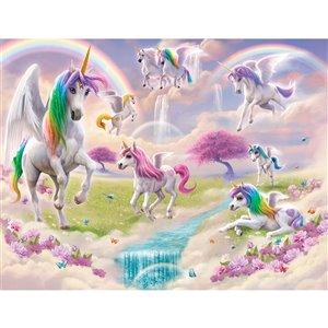 Murale Papier peint licorne magique de Walltastic, 8 pi x 10 pi