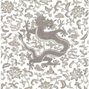 Papier peint Chi'en Dragon Self Adhesive de Scalamandre, gris