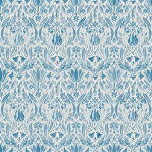 Papier peint floral Ludvig Ogee de Midbec, bleu