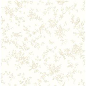 Papier peint Mafra Floral Trails de Brewster, jaune pale