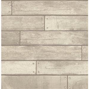 Papier peint Weatherouge Nailhead Plank de Brewster, gris