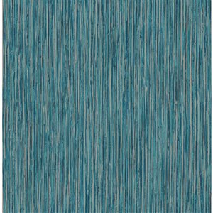 Papier peint Kofi Faux Grasscloth de Fine Décor, bleu
