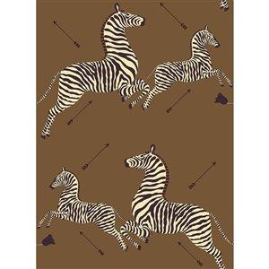 Papier peint adhésif Safari Zebra de Scalamandre, brun