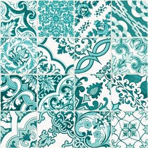 Papier peint Cohen Tile de ESTA Home, turquoise