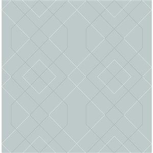 Papier peint géométrique détressé Ballard de A-Street Prints, bleu pâle