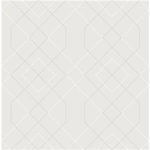 Papier peint géométrique détressé Ballard de A-Street Prints, argent